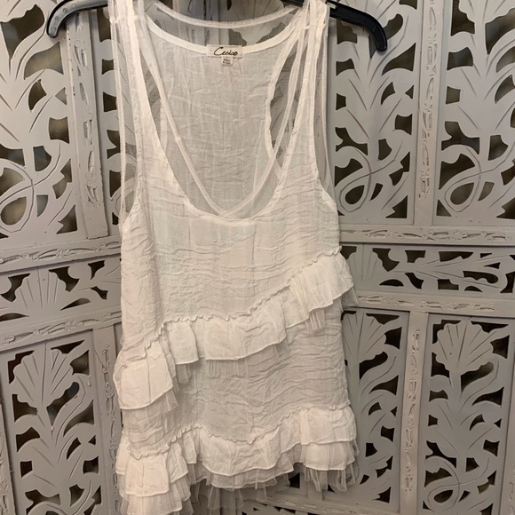 Tops - SHEER WHITE FILMY COTTON TANK TOP
